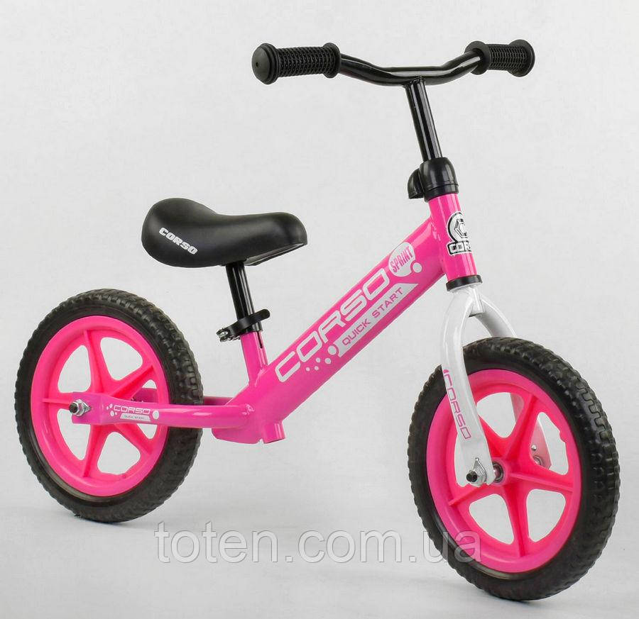 """Велобіг від Беговел CORSO, колеса EVA 12"""" 21001 рожевий"""