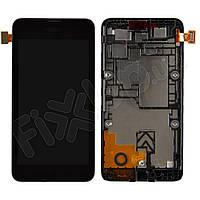 Дисплей Nokia 530 Lumia з тачскріном в зборі, колір чорний, в рамці, уцінка