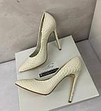Жіночі весільні туфлі лодочки на шпильці 13см молочного кольору, фото 5