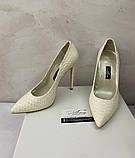 Жіночі весільні туфлі лодочки на шпильці 13см молочного кольору, фото 4