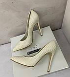 Жіночі весільні туфлі лодочки на шпильці 13см молочного кольору, фото 2