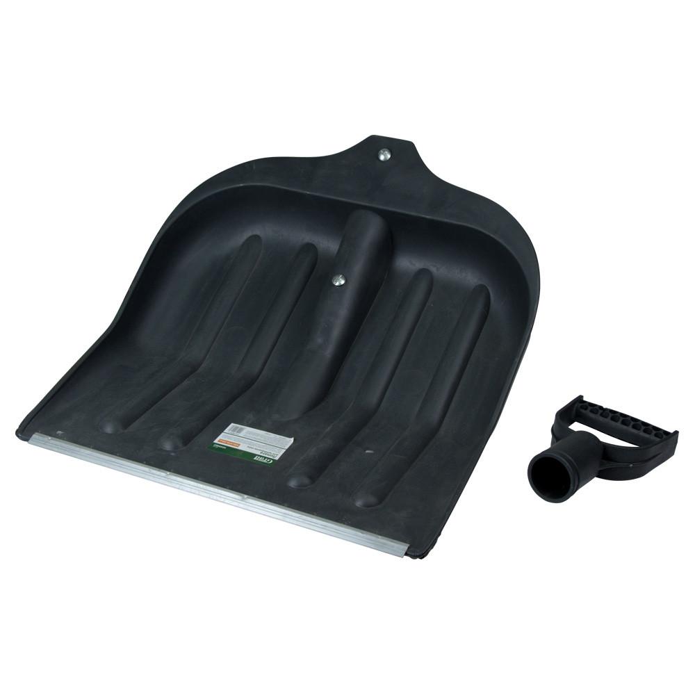 Лопата для уборки снега пластиковая с алюминиевой планкой 435×470×10мм (чёрная) GRAD (5049415)