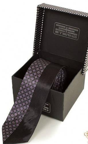 Деловой шелковый узкий галстук  ETERNO (ЭТЕРНО) EG620 черный