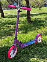 Самокат двухколесный 66053 ФИОЛЕТОВЫЙ, колеса PU, d=20см, грипсы резиновые, длина доски 52см