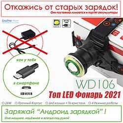 Мощный налобный фонарь для ОХОТЫ и РЫБАЛКИ фонарик зум WD 019 / 106 T6, Налобник