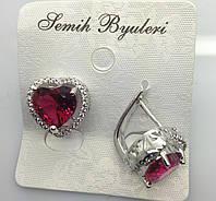 Романтические серьги от Swarovski с алыми кристаллами в виде сердечка. Роскошная бижутерия от RRR. 497