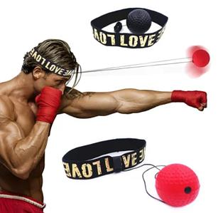 Тренажер м'яч для боксу Boxing м'ячик на резинці червоний і чорний 2 шт