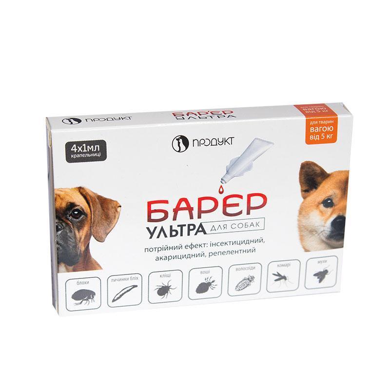 Барьер Ультра капли от блох и клещей для собак от 5 кг (1 мл) Продукт