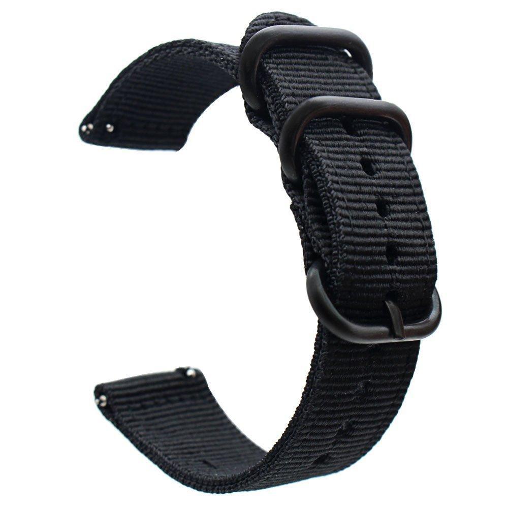 Ремешок тканевый для часов, черный. Нейлон. 18 мм