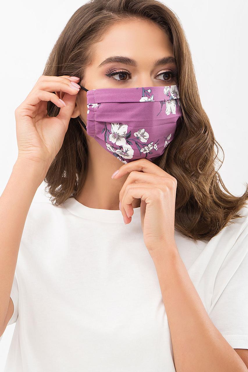 Защитная тканевая маска с цветочным принтом