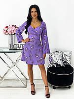 Короткое приталенное платье с цветочным принтом, фото 1