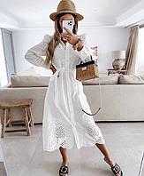 Женское  платье рубашка  из прошвы   ниже колена  размеры 42-44,44-46