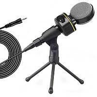 Конденсаторный микрофон (2 м) проводной с шумоподавлением для компьютера ноутбука Soncm SF-930 + штатив, фото 1