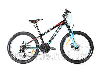 """Підлітковий спортивний велосипед Crosser Boy 24"""" XC-200 чорно-блакитний"""