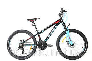 """Підлітковий велосипед Crosser Boy 24"""" XC-200 чорно-блакитний"""
