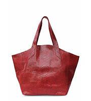 Сумка женская кожаная POOLPARTY Fiore Leather Handbag Snake красная , фото 1
