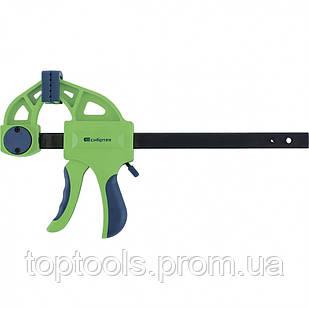 Струбцина F-подібна швидкозатискна 150х70х360 мм, пластиковий корпус, фіксатор, двокомпонентна рукоятка,
