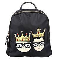 Женский черный рюкзак с принтом, велюровый рюкзак, рюкзак для подростка СС-2504-10