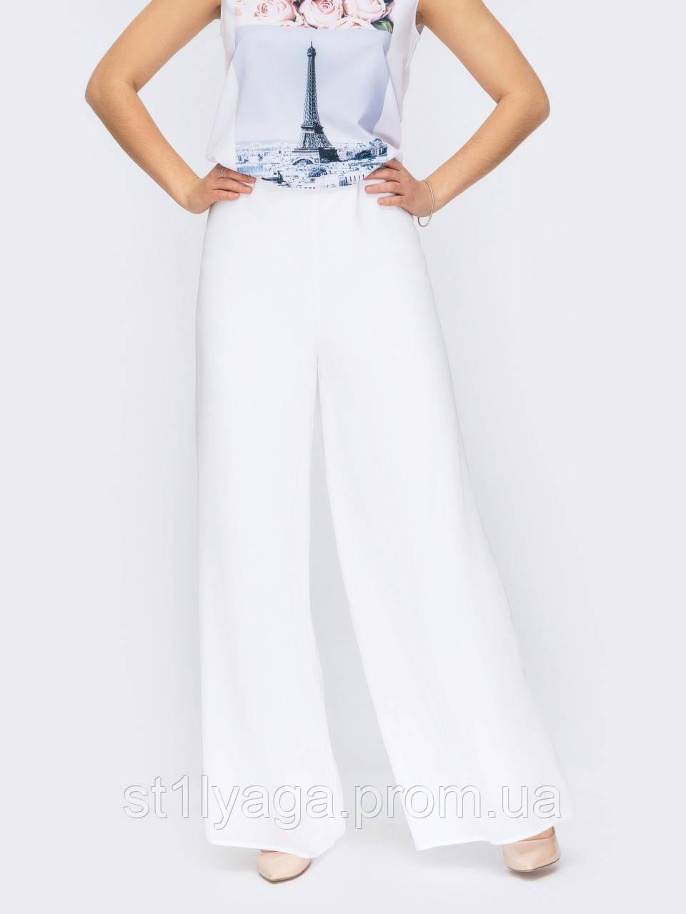 Белые брюки-палаццо с высокой талией ЛЕТО