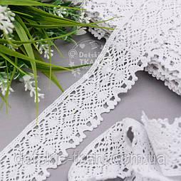 Відріз бавовняного мережива білого кольору шириною 4,5 см (2115), розмір 2,7 м