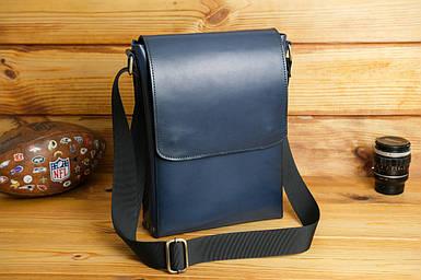 Кожаная мужская сумка Майкл, натуральная кожа итальянский Краст цвет Синий