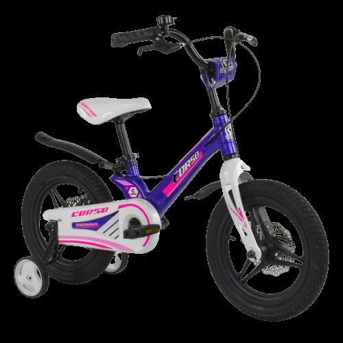 Велосипед детский для девочки 3 4 5 лет колеса 14 дюймов Corso MG-77218 магниевая рама литые диски