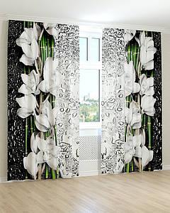 Фотошторы 3д біла орхідея краплі на склі
