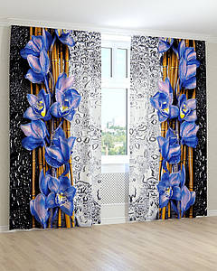 Фотошторы 3д синя орхідея краплі на склі