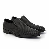 Лофери чоловічі туфлі шкіряні чорні з перфорацією на гумках взуття великий розмір Rosso Avangard MonoPerf BS
