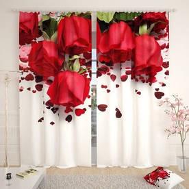Фотошторы 3д червоні троянди