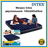 Матрас надувной двуспальный широкий велюровый Intex 183 х 203 х 25