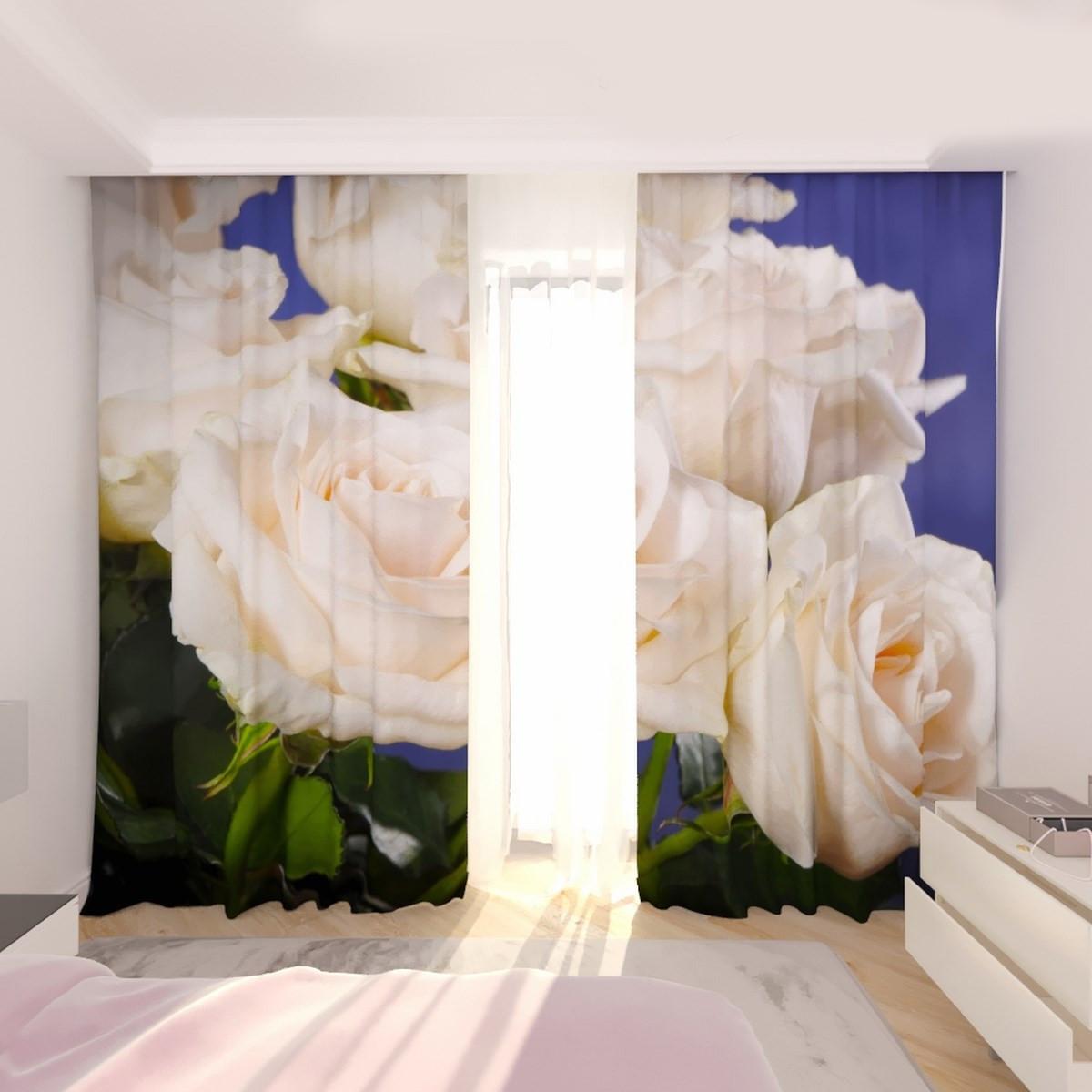 Фотошторы білі троянди