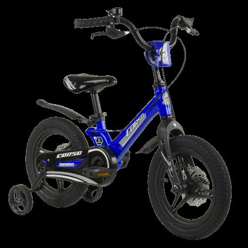 Велосипед детский для мальчика девочки 3 4 5 лет колеса 14 дюймов Corso MG-85328 магниевая рама литые диски