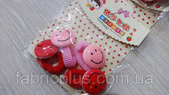 Детские резинки для волос Смайлики цвет в ассортименте(4 шт)