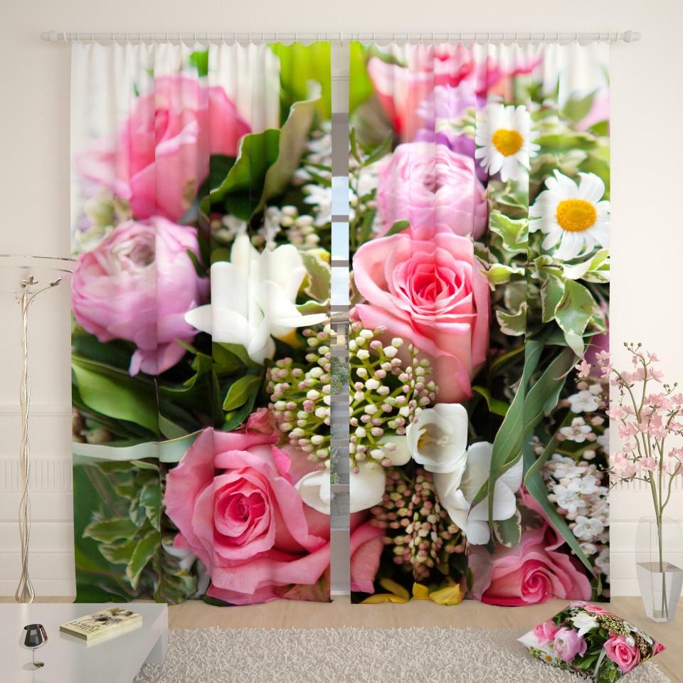 Фотошторы букет з рожевими трояндами