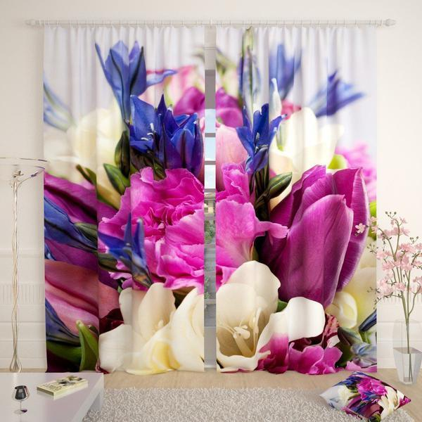 Фотошторы букет квітів