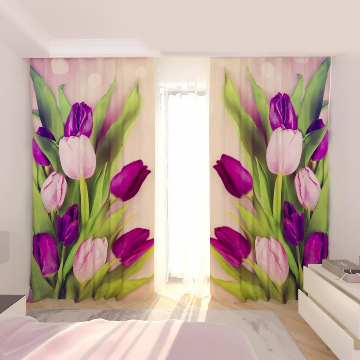 Фотошторы букет тюльпанов