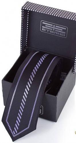Простой стильный шелковый галстук  ETERNO (ЭТЕРНО) EG644 черный