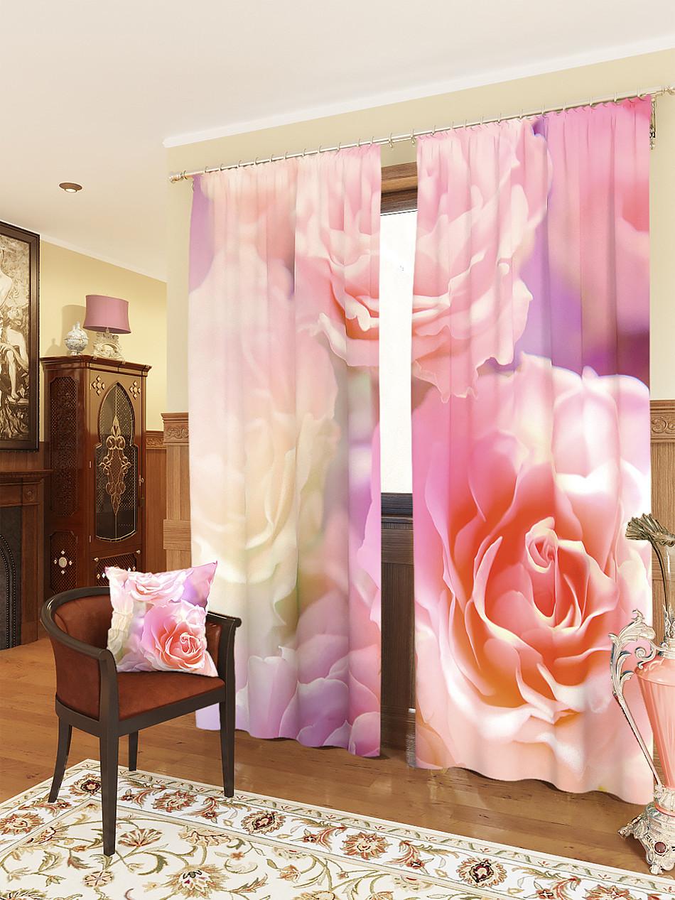 Фотошторы рожеві троянди