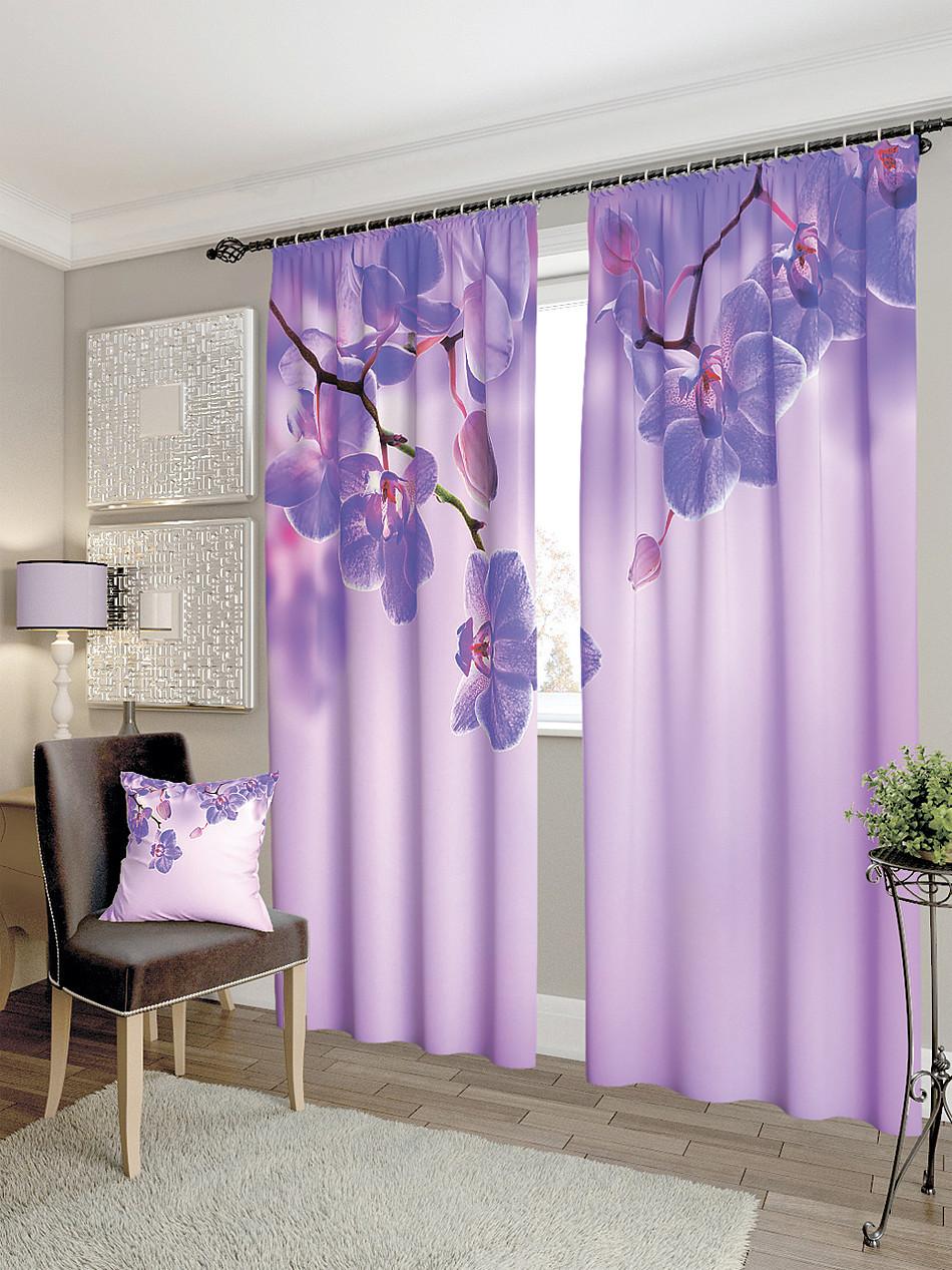 Фотошторы орхідея в фіолетових тонах
