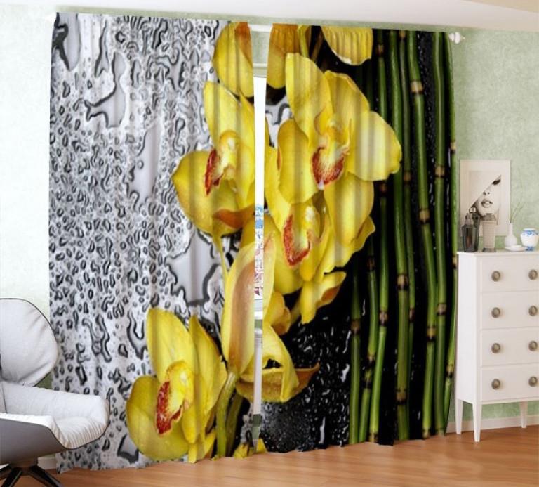 Фотошторы орхидея и бамбук