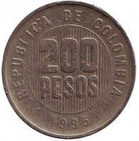 Монета 200 песо. 1995 год, Колумбия. (БД)