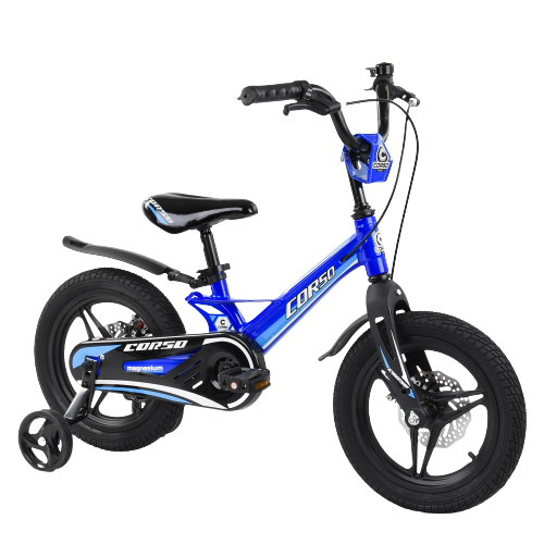 Велосипед детский для мальчика девочки 3 4 5 лет колеса 14 дюймов Corso MG-02044 магниевая рама литые диски