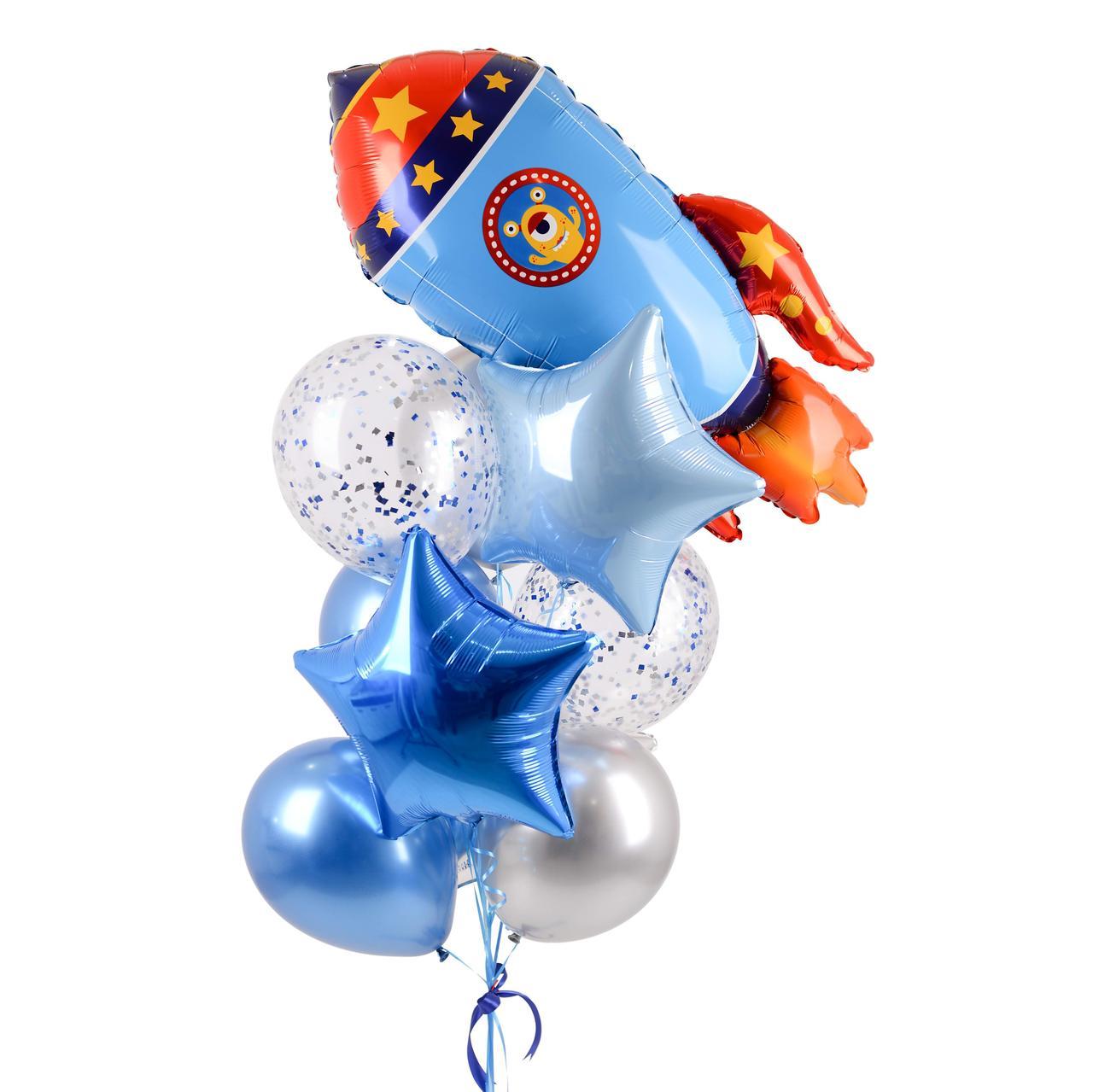 Зв'язка гелієвих кульок з синьою ракетою і фольгированными зірками
