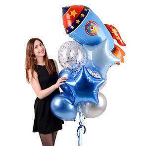 Зв'язка гелієвих кульок з синьою ракетою і фольгированными зірками, фото 2
