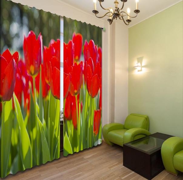Фотошторы 3д красные тюльпаны