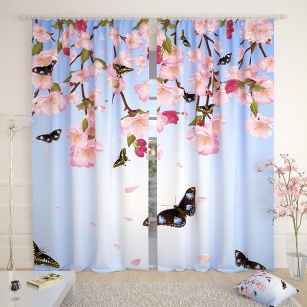 Фотошторы сакура і метелики