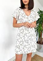 Платье женское летнее с цветочным принтом Summ белое | Женское платье с рюшами нарядное ЛЮКС качества