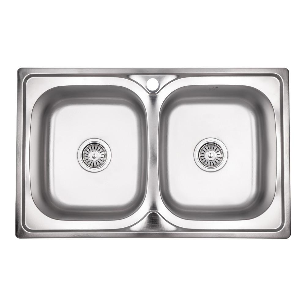 Кухонна мийка з двома чашами Lidz 7948 0,8 мм Decor (LIDZ7948DEC08)