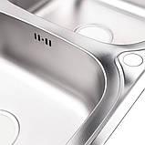 Кухонна мийка з двома чашами Lidz 7948 0,8 мм Decor (LIDZ7948DEC08), фото 5